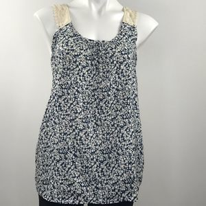 Everly blue and white top with crochet shoulders